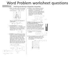 Quadratic Word Problems Worksheet With Answers Word Problem Worksheet Questions Ppt