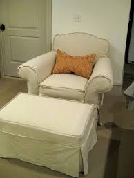 Matching Chair And Ottoman Slipcovers Drop Cloth Chair And Ottoman With Welt Slipcovers