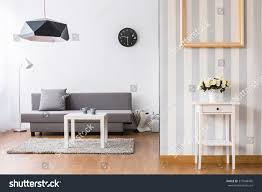stylish living room grey sofa small stock photo 377848450