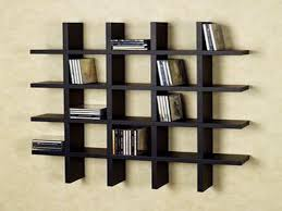 modern black stained wooden cube wall mounted open shelves on