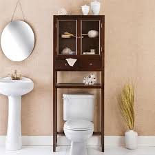 Bathroom Wicker Shelves by Over The Toilet Shelf White Finish Stained Wooden Door Pattern