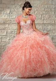coral pink quinceanera dresses two tone ruffled tulle with beaded bodice quinceanera dress