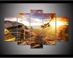 online shop framed hd print 5pcs game of thrones daenerys