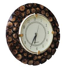 wholesale hand carved 7 3 u201d round brown wooden wall clock with wood