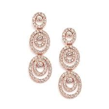 gold earrings for wedding concentric ovals gold wedding earrings with cubic zirconia