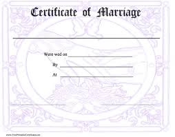 printable marriage certificates template