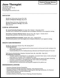 Resume Physical Therapist Sample Physical Therapy Resume Unforgettable Physical Therapist