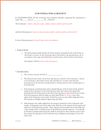 6 contractor subcontractor agreement template purchase