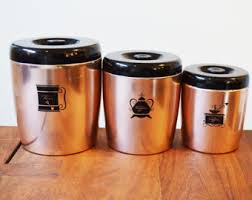 copper kitchen canister sets copper canister etsy