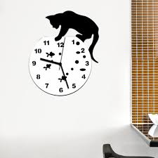 wholesale mosunx business hot selling naughty cat acrylic clock design mirror effect wall sticker battery not includ
