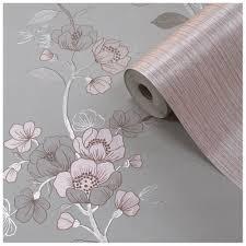 wallpaper luxury pink muriva delta stone rose pink metallic luxury floral wallpaper 701621
