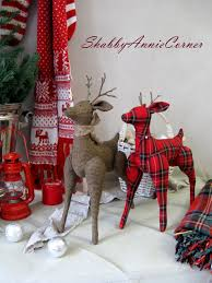 Nordic Christmas Decorations Wholesale by Primitive Deer Toy Christmas Decorations Red Plaid Deer