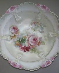 rs prussia bowl roses rs prussia large scalloped bowl roses snowballs pattern