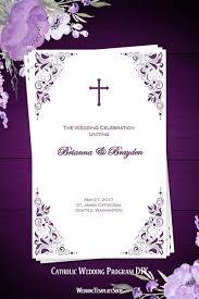 Catholic Wedding Programs Catholic Church Wedding Program Gianna Eggplant Purple And Silver