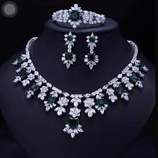 earrings necklace bracelet sets images Green brilliant crystal zircon earrings necklace bracelet bridal jpg