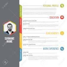 Resume Profile Template Vector Minimalist Cv Resume Template Design With Profile Photo
