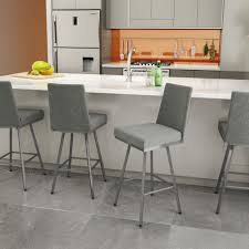 Kitchen Counter Stools Contemporary Furniture Iron Framed Grey Upholstered Counter Stools With White