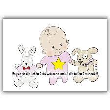sprüche danksagung geburt süße dankeskarte für die glückwünsche zur geburt mit baby und