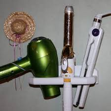 Hair Dryer And Flat Iron Holder Wall Mount curling iron dryer and flat iron holder wall mount white