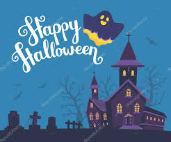 vector halloween vector halloween illustration of haunted house cemetery bats o