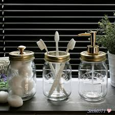 Vintage Bathroom Accessories by Kilner Jar Vintage Retro Bathroom Accessory Gift Set In Glass With