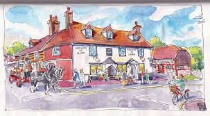 lyndseysmith developing a painting of the swan pub lewes