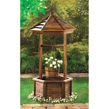 outdoor garden decor fir wooden rustic wishing well outdoor garden patio yard planter