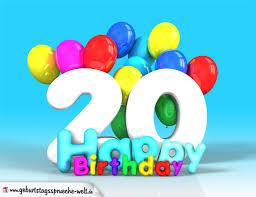geburtstagssprüche 20 20 geburtstag bild happy birthday mit ballons