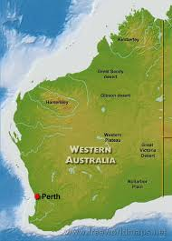 Australian Map Of The World by Physical Map Of Western Australia Australia