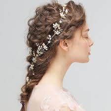 hair jewelry gold leaf pearls hair vine bridal headband wedding hair jewelry