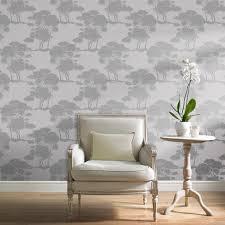 Grey Wallpaper Living Room Uk Grandeco Darcy Grey Tree Wallpaper A15704