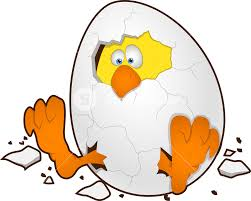 easter egg with chicken cartoon character royalty free stock