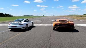 porsche lamborghini race lamborghini aventador sv vs porsche 911 turbo s youtube