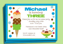 boy u0027s ice cream party invitation printable or printed with