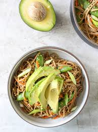 sesame peanut soba noodle salad with avocado