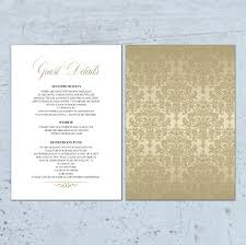 Accommodation Cards For Wedding Invitations Metallic Wedding Information Card Wedding Details Card Details