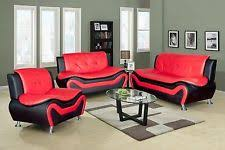 Red Leather Sofa EBay - Red leather living room set