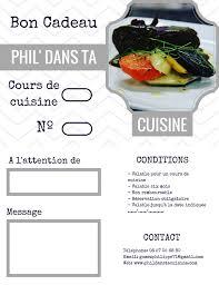 bon cadeau cours de cuisine offrir cours phil dans ta cuisine