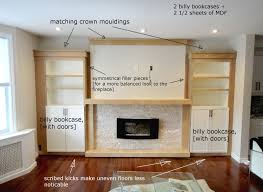 Built In Bookshelves With Window Seat Plans For Building A Book Shelf Around A Fireplace Book Shelves