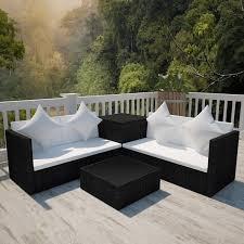 outdoor black furniture set garden lounge sofa coffee table storage