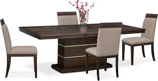 gavin pedestal table and 4 side chairs brownstone value city