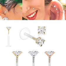 earring helix solid gold bioplast jewelry for cartilage tragus helix earring