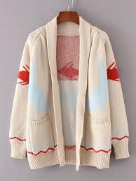fish sweater fish pattern shawl collar cardigan shein sheinside