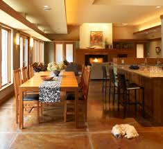 stained concrete floors dining room modern with dog eat in kitchen