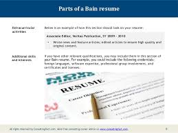 Extra Curricular Activities In Resume Sample by Bain Resume Sample