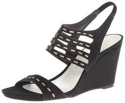 amazon com ak anne klein women u0027s trisa suede wedge sandal black
