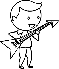 boy playing electric guitar coloring wecoloringpage
