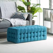 Designer Table Ls Living Room Blue Color Large Tufted Ottoman Coffee Table With Fabric Cover