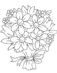 bouquet of roses in vase coloring page for kids flower new of