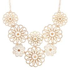 gold necklace statement images Rose gold tone layered filigree flowers statement necklace claire 39 s jpg